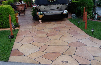 Brown and Grey Stone Design in residential driveway